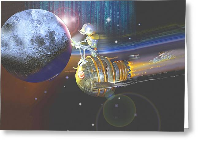 Android Cosmic Commuter Greeting Card by Nate Owens