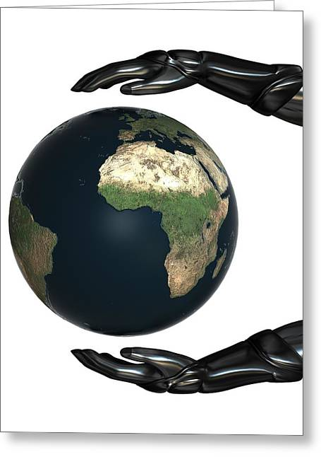 Android Hands Keep Earth Globe Safe On White Background Greeting Card by Nenad Cerovic