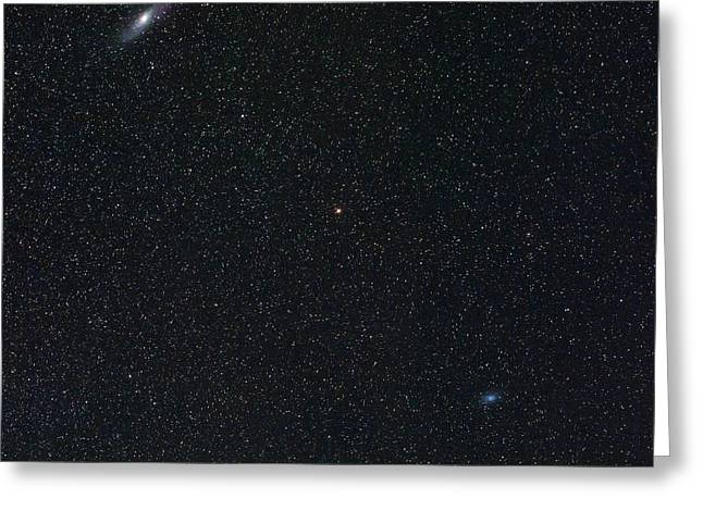 Andromeda And Triangulum Galaxies Greeting Card by Babak Tafreshi