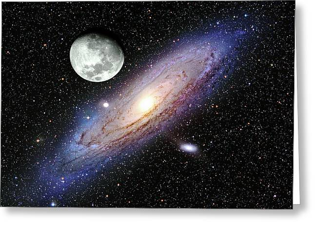 Andromeda Galaxy And Moon Greeting Card by Adam Block/mount Lemmon Skycenter/university Of Arizona