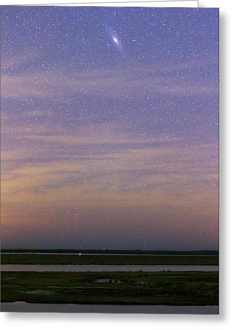 Andromeda Galaxy Over The Parana River Greeting Card by Luis Argerich