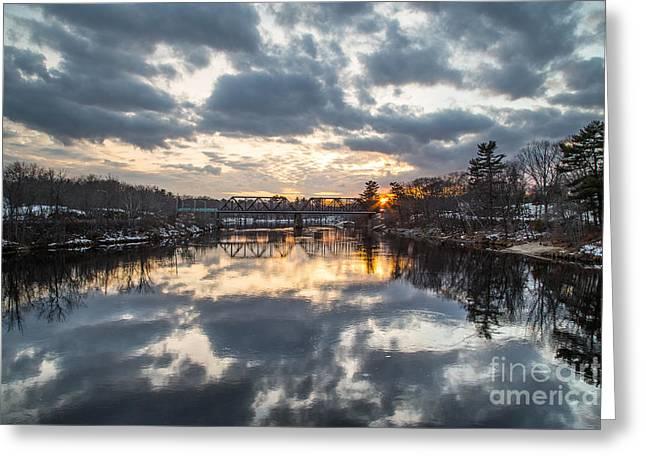 Androscoggin River Reflection Greeting Card by Benjamin Williamson