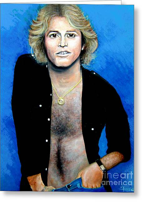 Greeting Card featuring the painting Andy Gibb An Everlasting Love  by Patrice Torrillo