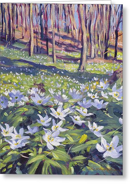 Anemones In The Meadow Greeting Card by David Lloyd Glover