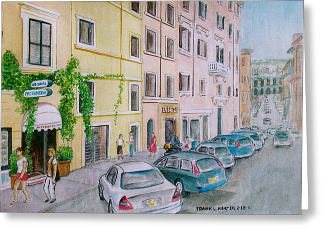 Anfiteatro Hotel Rome Italy Greeting Card by Frank Hunter