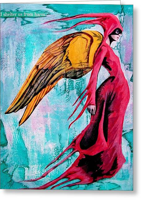Angel 1 Navigating Ether Greeting Card by Maria Huntley