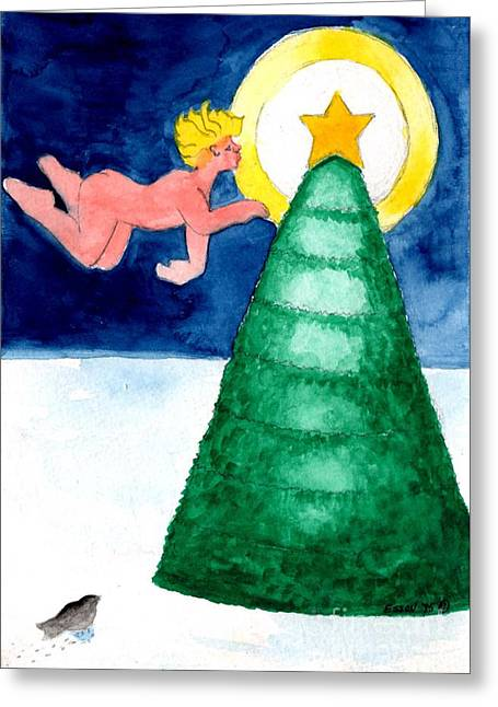 Angel And Christmas Tree Greeting Card by Genevieve Esson