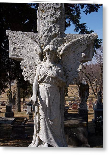 Angel And Cross Greeting Card