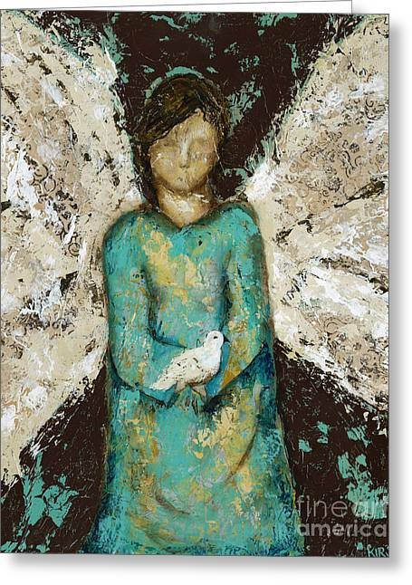 Angel  And  Dove Greeting Card by Kirsten Reed
