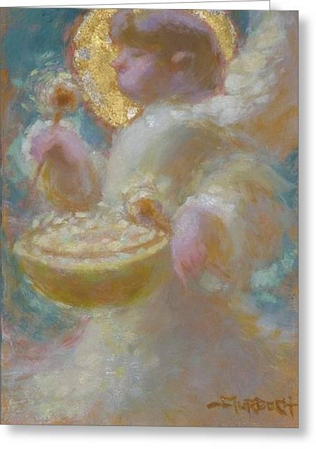 Angel And Drum Greeting Card by John Murdoch