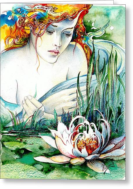 Greeting Card featuring the painting Angel And Lily by Anna Ewa Miarczynska