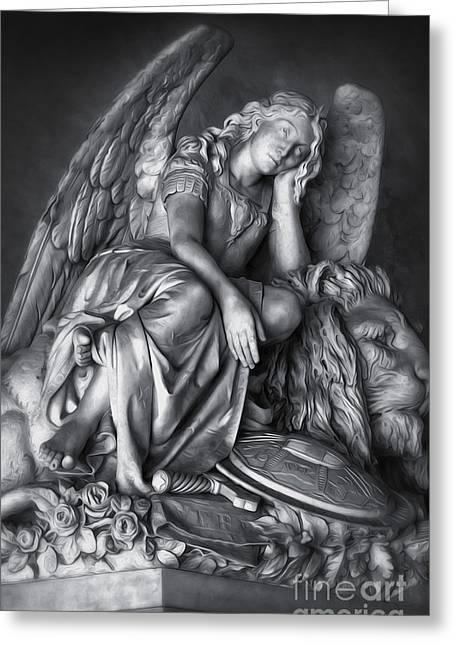 Angel And Lion Greeting Card