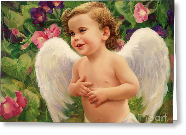 Angel And Morning Glory Greeting Card by Laurie Hein