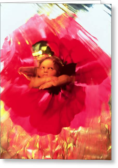 Angel And Poppy Greeting Card by Katherine Fawssett