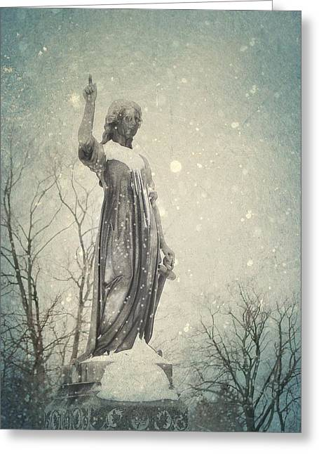 Snowy Gothic Stone Angel Greeting Card by Gothicrow Images