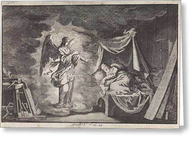 Angel Appears To Joseph In His Carpentry Workshop Greeting Card by Jan Luyken And Pieter Mortier