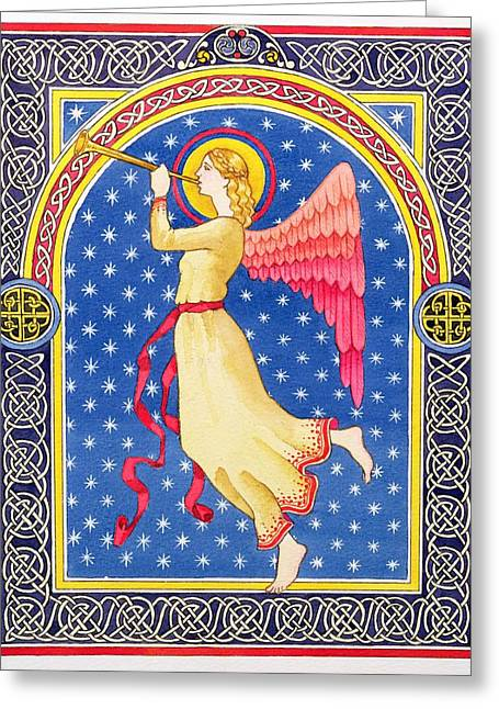 Angel Blowing Trumper Greeting Card by Lavinia Hamer