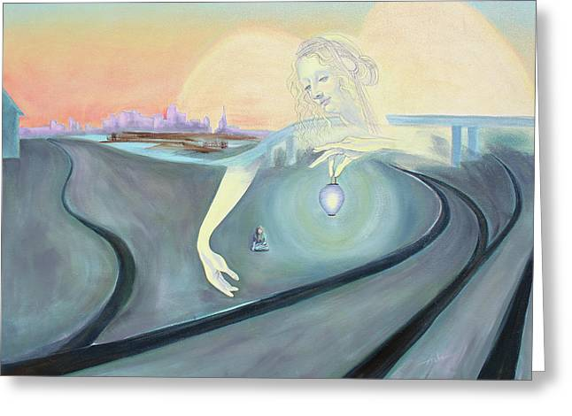 Angel Bringing Light To Meditating Woman At The Train Tracks Greeting Card by Asha Carolyn Young