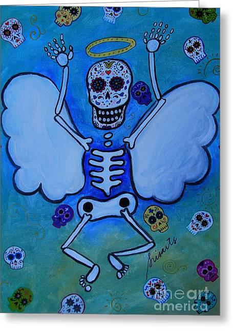 Angel Dia De Los Muertos Greeting Card by Pristine Cartera Turkus
