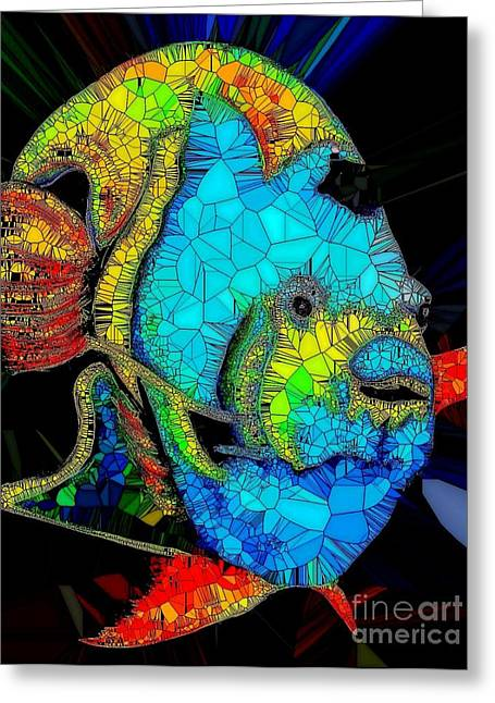 Angel Fish Stained Glass Greeting Card by Saundra Myles