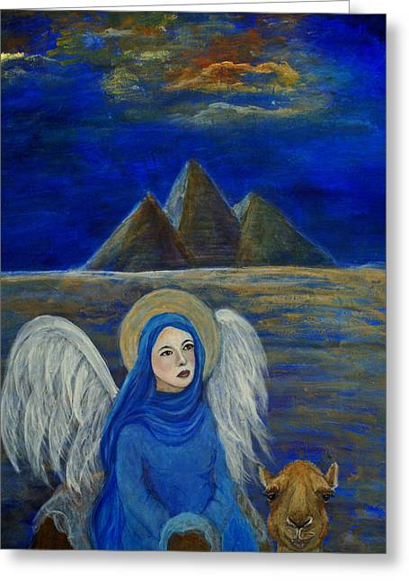 Angel From Eygpt Called Lapis Lazueli Greeting Card by The Art With A Heart By Charlotte Phillips