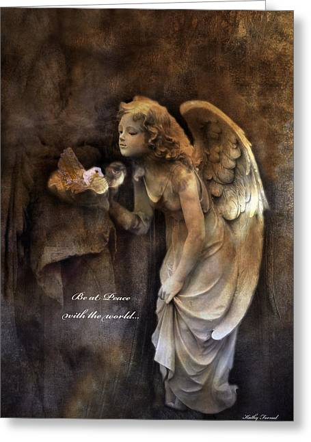 Angel Girl Holding Dove Inspirational Angel Art - Be At Peace With The World Greeting Card by Kathy Fornal