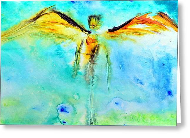 Angel Guardian Greeting Card by Ivan Guaderrama