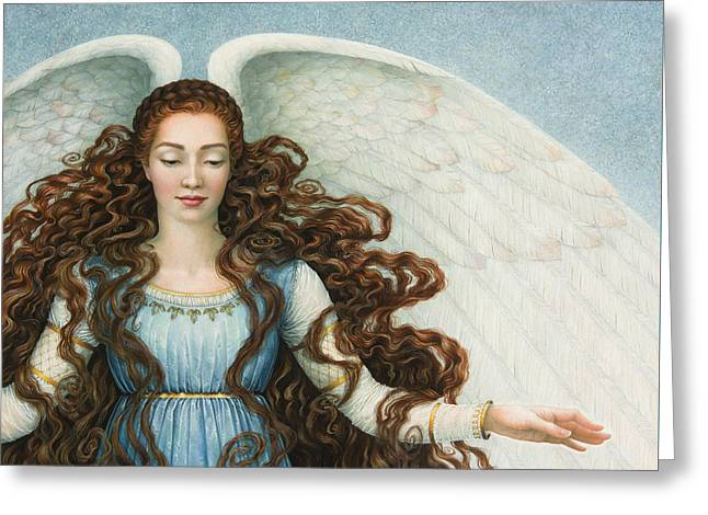 Angel In A Blue Dress Greeting Card