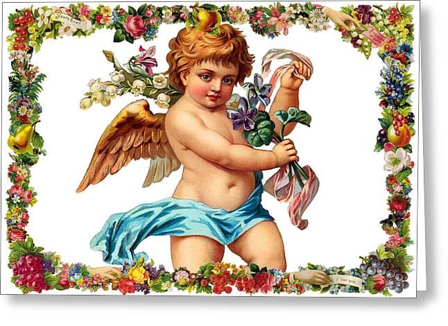Angel In Blue Greeting Card by Munir Alawi
