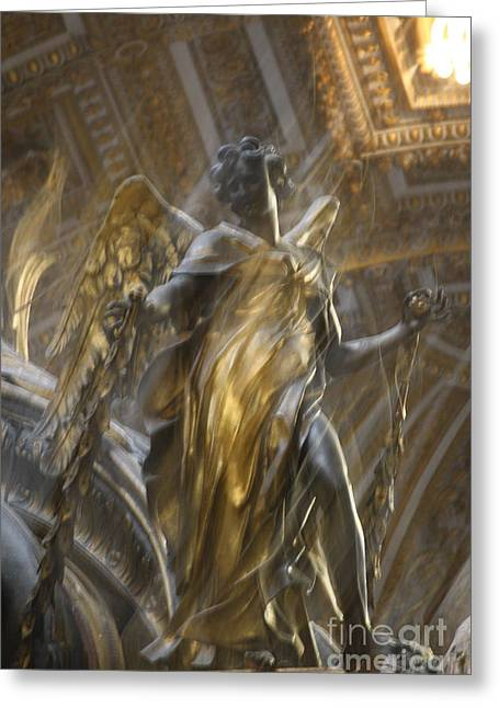 Angel In Motion Greeting Card by Mary-Lee Sanders