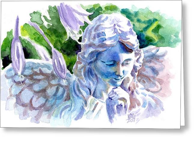 Angel In Stone Greeting Card by Ken Meyer jr