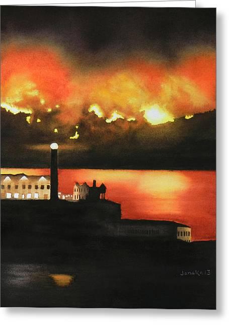 Angel Island Fire Greeting Card by Janaka Ruiz