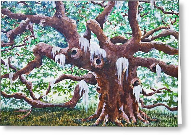 Greeting Card featuring the painting Angel Oak by Melissa Sherbon