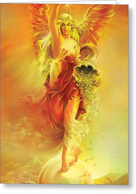 Greeting Card featuring the painting Angel Of Abundance - Fortuna by Anna Ewa Miarczynska