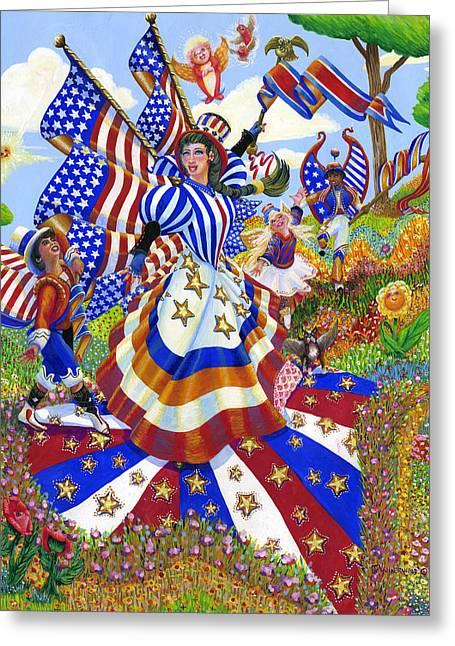 Angel Of American Patriotism Greeting Card by Jacquelin Vanderwood