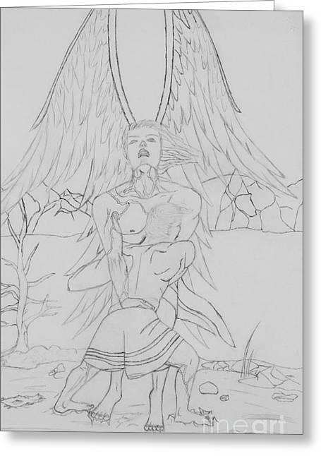 Angel Of God Struggle Greeting Card by Roberta Byram