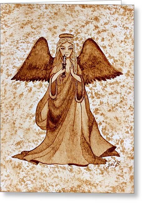 Angel Of Hope Original Coffee Painting Greeting Card by Georgeta Blanaru