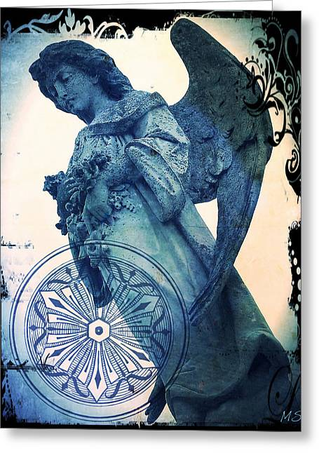 Greeting Card featuring the digital art Angel Of Peace - Art Nouveau by Absinthe Art By Michelle LeAnn Scott