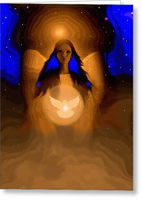 Angel Of Peace Greeting Card by Robert Foster