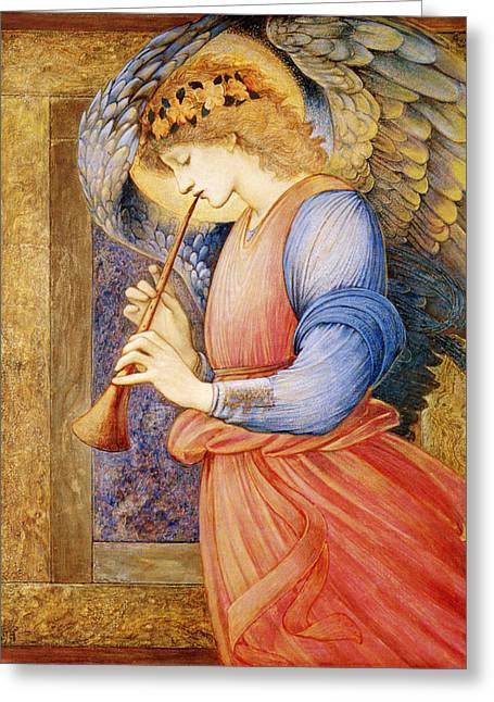Angel Playing A Flageolet Greeting Card by Edward Burne Jones