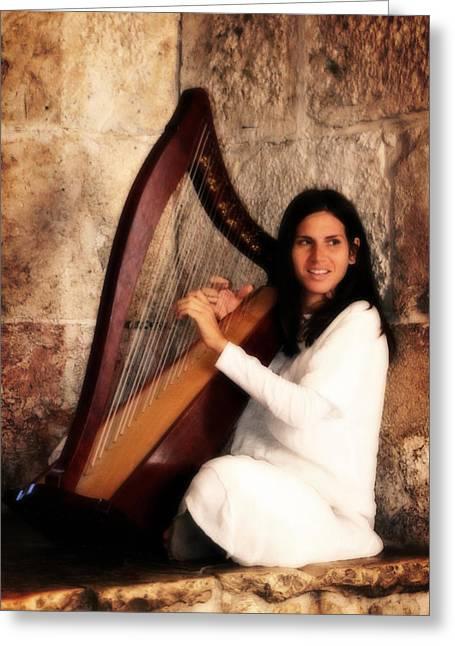 Angel Playing Harp At Western Wall Greeting Card