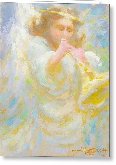 Angel Playing Lovesong Greeting Card by John Murdoch