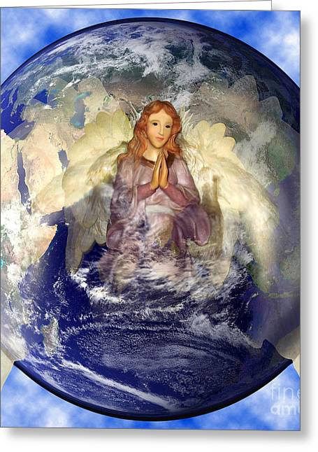 Angel Praying For World Peace Greeting Card