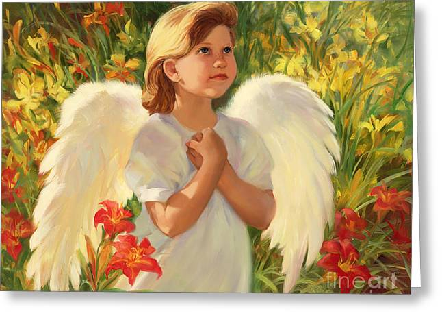 Angel Red And Yellow Greeting Card by Laurie Hein
