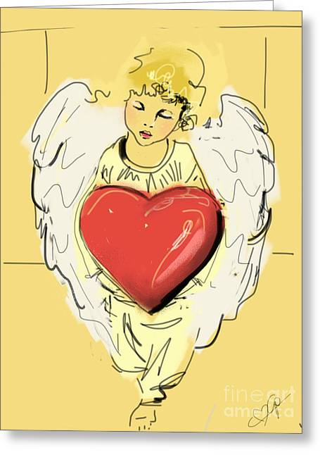 Angel Red Heart Greeting Card by Go Van Kampen