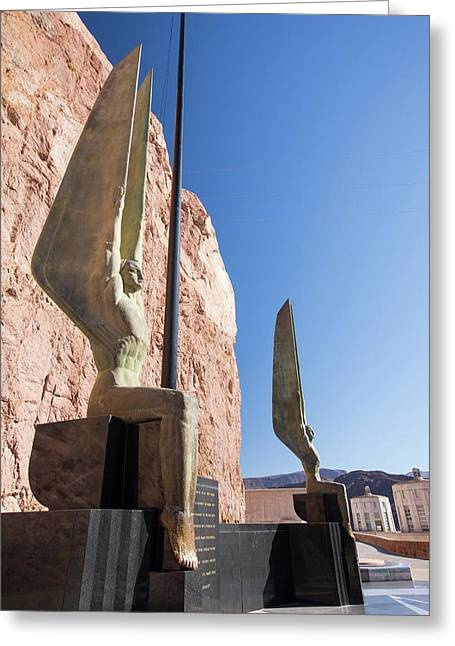Angel Sculptures At The Hoover Dam Greeting Card