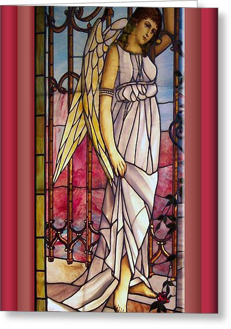 Colorful Photos Glass Art Greeting Cards - Angel Stained Glass Window Greeting Card by Thomas Woolworth