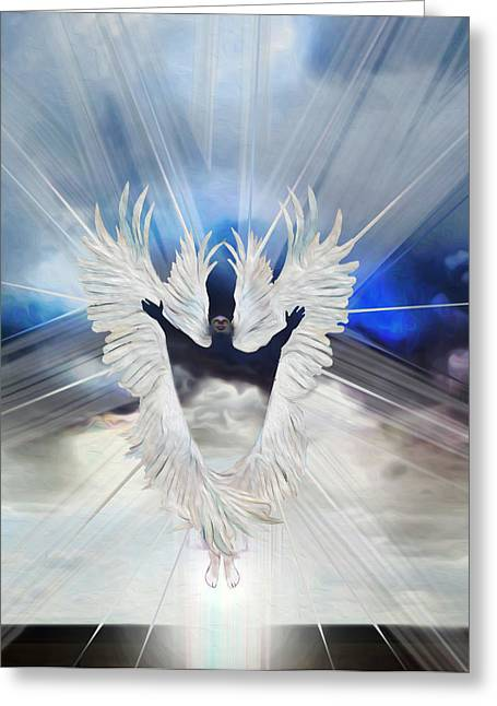 Angel Storm Greeting Card by Ron Cantrell