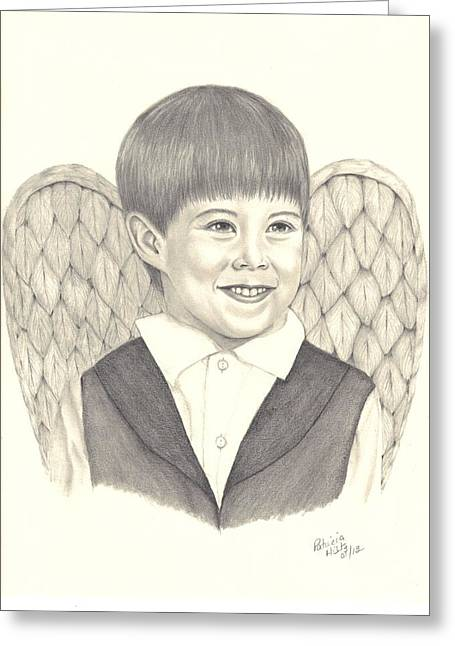 Greeting Card featuring the drawing Angel Too by Patricia Hiltz