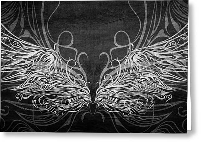Angel Wings Bw Greeting Card
